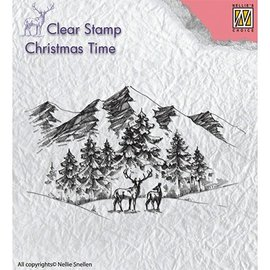 Stempel / Stamp: Transparent Klar, Transparent stempel: Vinterlandskab med rådyr