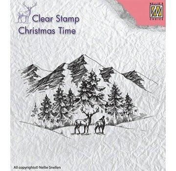 Stempel / Stamp: Transparent Effacer, timbre transparent: Paysage d'hiver avec des cerfs