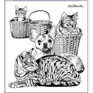 LaBlanche Estampilla Lablanche: perro y gato
