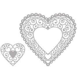 Marianne Design Corte y estampado Die: Filigre Heart Doily
