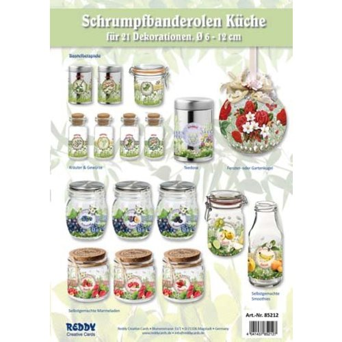 BANDEROLEN, Schrumpffolien Chaîne de timbres Cuisine - fixés pour 21 timbres Diamètre 5 - 12 cm