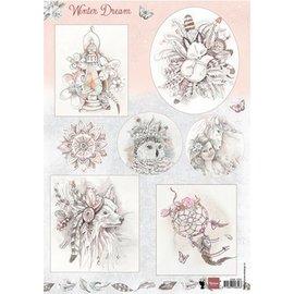 Bilder, 3D Bilder und ausgestanzte Teile usw... A4 ark af billeder: Winter dream - lyserød