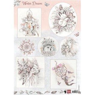 Bilder, 3D Bilder und ausgestanzte Teile usw... A4 ark med bilder: Winter drøm - rosa