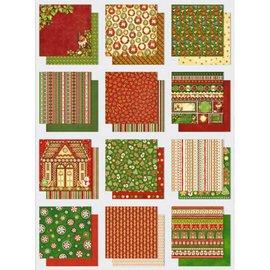 Designer Papier Scrapbooking: 30,5 x 30,5 cm Papier Paper block: Premium glitter met thema's van Kerstmis