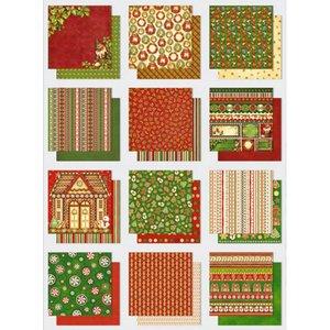 Designer Papier Scrapbooking: 30,5 x 30,5 cm Papier Papir blok: Premium glitter med julemotiver