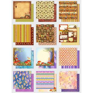 Designer Papier Scrapbooking: 30,5 x 30,5 cm Papier Paper block: Premium Glitter Elfen / Wichtel, format: 30.5 x 30.5 cm