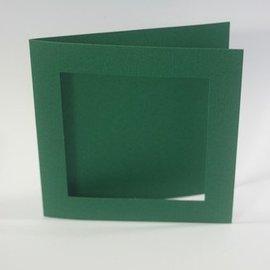 KARTEN und Zubehör / Cards 10 Leinen Karten PassePartout quadrat in Weihnachtsgrün