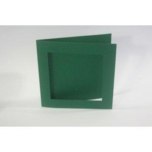 KARTEN und Zubehör / Cards Carré PassePartout de 10 cartes de lin en vert de Noël