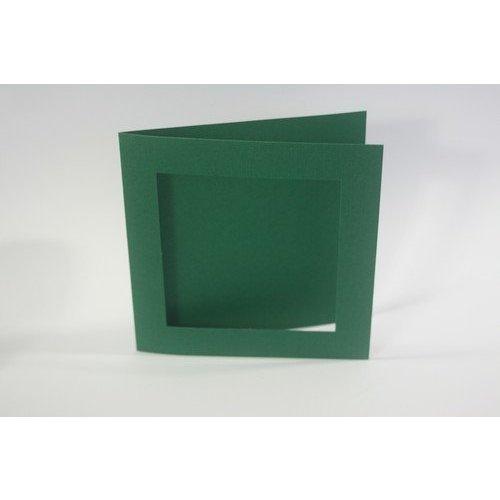 KARTEN und Zubehör / Cards 10 Linen Cards PassePartout square in Christmas green