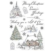 Wild Rose Studio`s Transparent / Clear Stamp: Winter Cottages