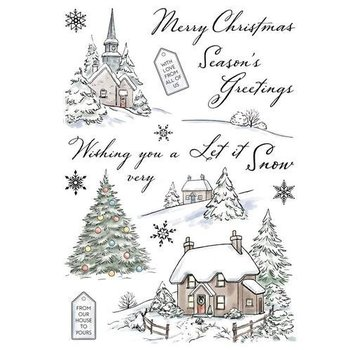 Wild Rose Studio`s Transparant / Clear Stamps: Winter Cottages