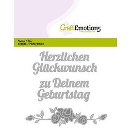 Crealies und CraftEmotions Stanzschablone: Text: Herzlichen Glückwunsch (DE) mit Rosendesign