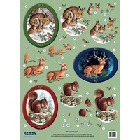 3D punching bow forest animals, hares, deer, squirrel