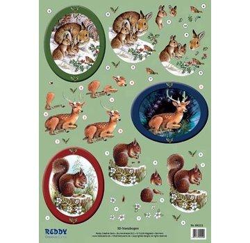 Bilder, 3D Bilder und ausgestanzte Teile usw... 3D Stans dieren in het bos, konijnen, herten, eekhoorns