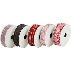 DEKOBAND / RIBBONS / RUBANS ... Dekoband SET, pink / røde toner