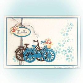 Leane Creatief - Lea'bilities und By Lene modello di punzonatura: bicicletta con i fiori