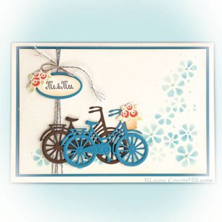Leane Creatief - Lea'bilities und By Lene Stamping template: Bicycle with flowers