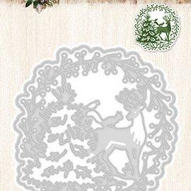 Studio Light Skæring dør: Krans med rensdyr og juletræ