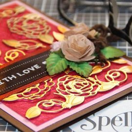 Spellbinders und Rayher cutting & Embossing: Shapeabilities Camellia Accents Etched