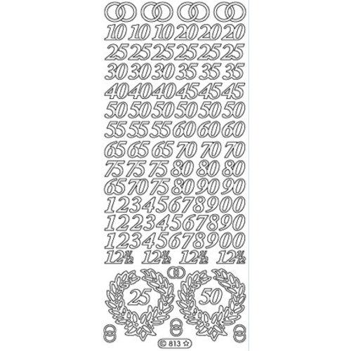 Sticker Autocollant, chiffres Jubilé en or