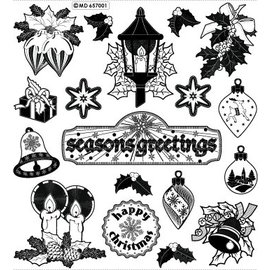STICKER / AUTOCOLLANT Sticker with 18 detailed embossed Christmas motifs