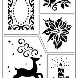 Schablonen, für verschiedene Techniken / Templates Flexibele Stencils, A5, Kerstthema