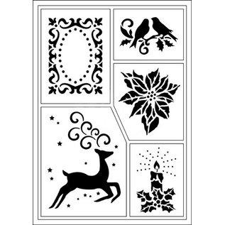 Schablonen, für verschiedene Techniken / Templates Stencil flessibile, A5, Tema Natale