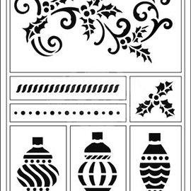 Schablonen, für verschiedene Techniken / Templates Stencil flessibile, palle A5, Natale e boccaglio