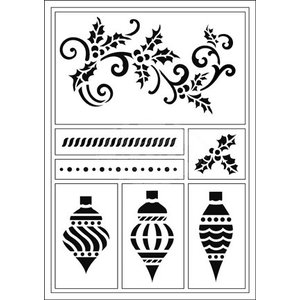 Schablonen, für verschiedene Techniken / Templates Pochoirs flexibles, A5, boules de Noël et tuba