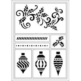 Schablonen, für verschiedene Techniken / Templates Flexibele Stencils, A5, kerstballen en snorkel