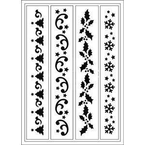 Schablonen, für verschiedene Techniken / Templates Flexible Stencils, A5, Weihnachtsbordüren