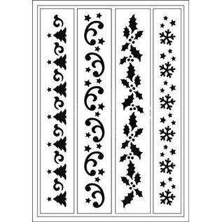Schablonen, für verschiedene Techniken / Templates Flexibele Stencils, A5, Kerstmis Designs