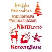 Universele Sjablonen A4, Weihnachtsmotive + deutsche Schriften