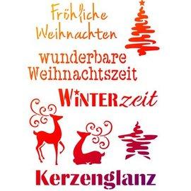 Schablonen, für verschiedene Techniken / Templates Universele Sjablonen A4, thema's van Kerstmis + Duitse geschriften