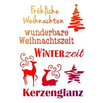 Schablonen, für verschiedene Techniken / Templates Universale sjablonen A4, temi di Natale + scritti tedeschi