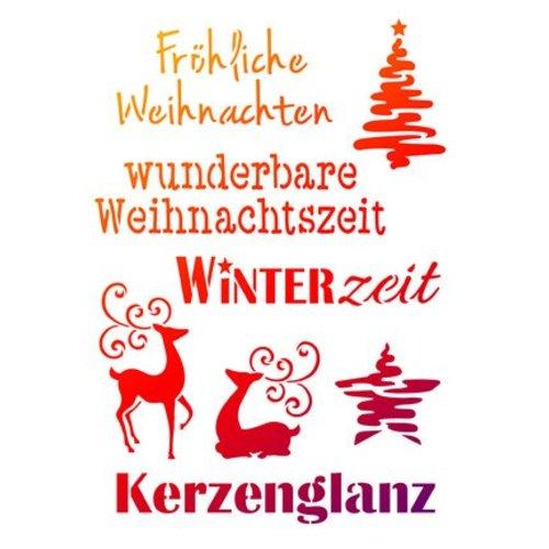 Schablonen, für verschiedene Techniken / Templates Universal sjablonen A4, julemotiver + tyske skrifter