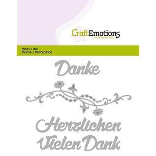 Crealies und CraftEmotions Stanzschablonen:Vielen Dank (DE) Card 11x9cm