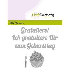 Crealies und CraftEmotions Cutting & Embossing: Congratulations Birthday (DE) card 11x9cm