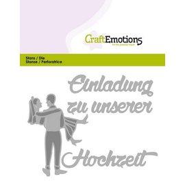 Crealies und CraftEmotions Cutting & Embossing: Einladung Hochzeit (DE) kort 11x9cm