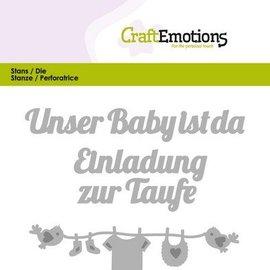 Crealies und CraftEmotions Cutting & Embossing: Unser carte bébé ist da (DE) 11x9cm