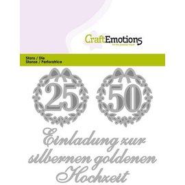 Crealies und CraftEmotions Cutting & Embossing: Einladung Hochzeit 25 50 (DE) Carte 11x9cm