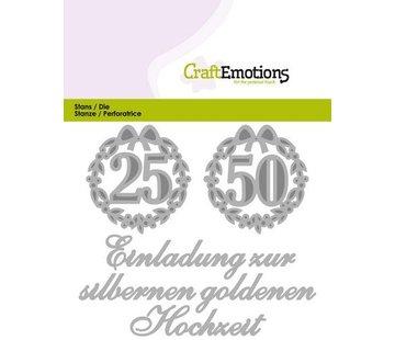 Crealies und CraftEmotions Cutting & Embossing: Einladung 25 50 Hochzeit (DE) card 11x9cm
