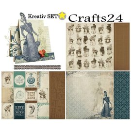 Designer Papier Scrapbooking: 30,5 x 30,5 cm Papier Creative SET No.1: Couture Collection + 1 + 1 basiskaart tip Dekoband!
