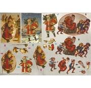 Bilder, 3D Bilder und ausgestanzte Teile usw... Dufex 3D udstanset ark, julemænd nostalgiske