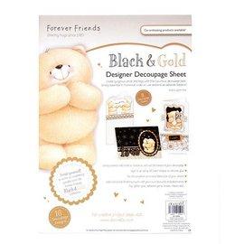 Forever Friends DESIGNER FICHE DE DECOUPAGE - BLACK & GOLD