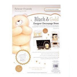 Forever Friends DESIGNER DECOUPAGE SHEET, BLACK & GOLD