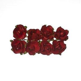 Embellishments / Verzierungen 8 flor de papel, rosas rojas