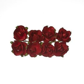 Embellishments / Verzierungen 8 Paper Flower, rote rosen