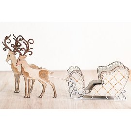 Tonic Punching and embossing template: 1 sleigh + 1 reindeer - the LAST stencils!