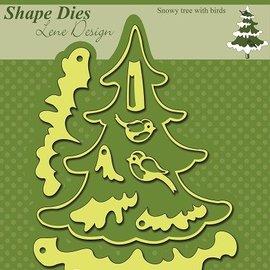 Nellie Snellen troqueles de corte: Árbol de navidad con nieve